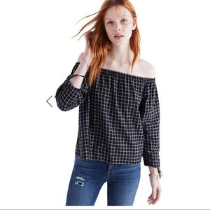 Madewell Plaid Off-The Shoulder Top